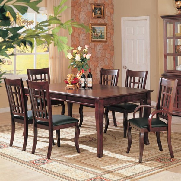 Newhouse Transitional Warm Brown Wood Faux Leather 7pc Dining Room Set CST-100500-SET