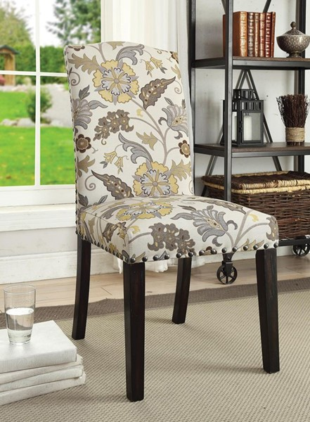 2 Matisse Elegant White Fabric Wood Solid Back Side Chairs CST-100562