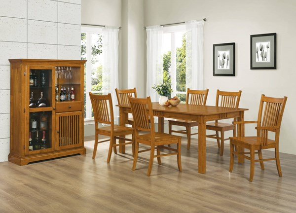 Marbrisa Casual Medium Brown Wood 7pc Dining Room Set CST-100621-SET