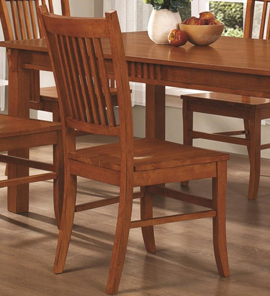 2 Marbrisa Country Medium Brown Slat Back Side Chairs CST-100622