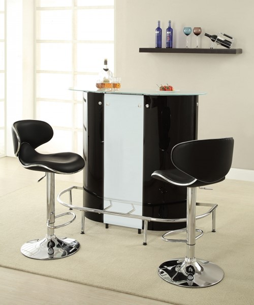 Contemporary Black White Metal Glass Bar Table CST-100654