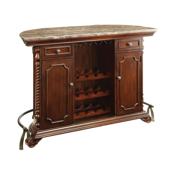Coaster Furniture Cherry Marble Top Bar Unit CST-100678
