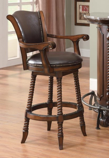 Traditional Cherry Wood Swivel Bar Stool CST-100679