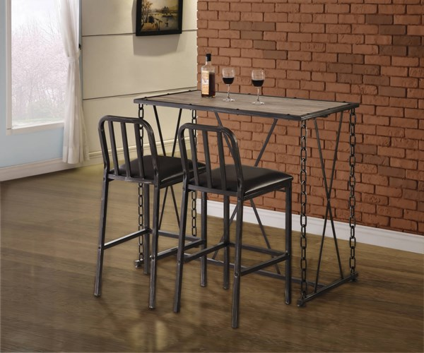 Brown Black Wood Metal Leatherette 3pc Counter Height / Bar Set CST-1006-BAR-S1