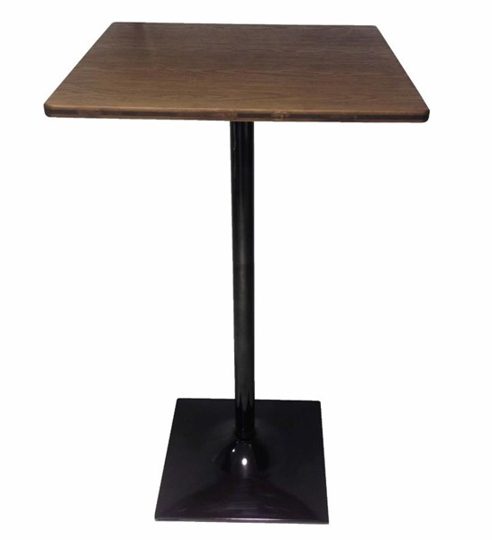 Coaster Furniture Dark Elm Wood Matt Black Metal Square Bar Table CST-100730