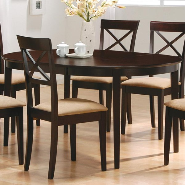 Casual Wood Cappuccino Oval Dining Table W/ Leaf CST-100770