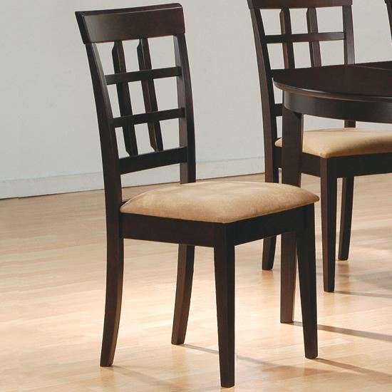 2 Casual Cappuccino Wood Grid Back Side Chairs CST-100772