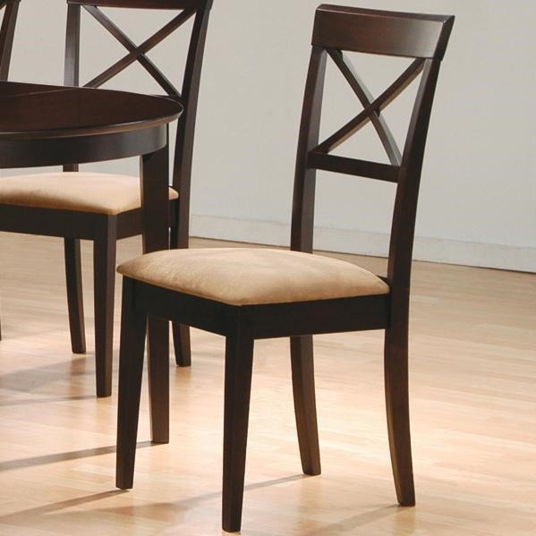 2 Casual Cappuccino Wood Fabric Cross Back Side Chairs CST-100774
