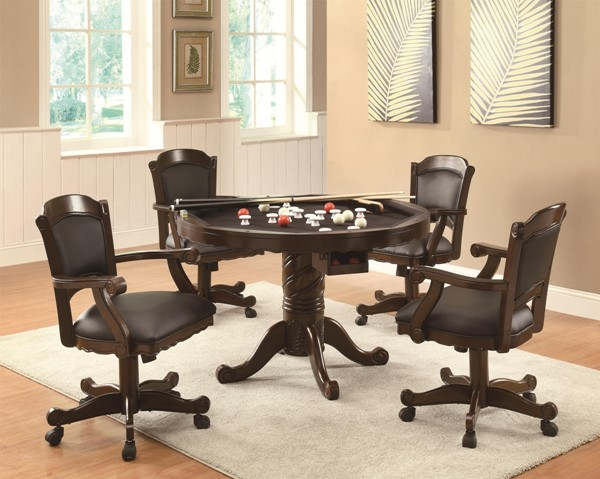 Contemporary Brown Cherry Wood Brown Cherry Game Table Set CST-G100871