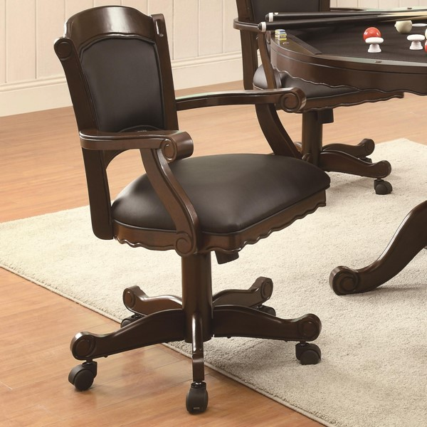 Casual Brown Cherry Wood Solid Back Arm Chair CST-100872
