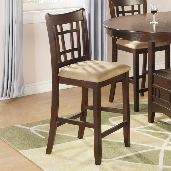 2 Casual Brown Cherry Tan Wood Bar Stools CST-100889N