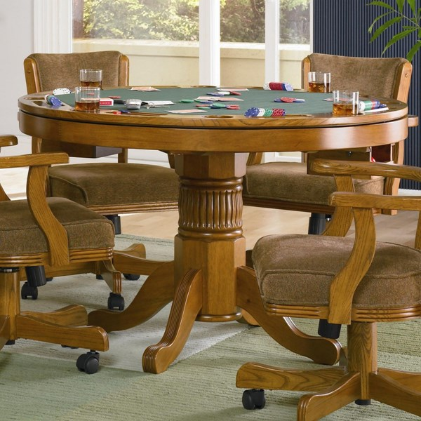 Coaster Furniture Mitchell Brown Wood Round Game Table CST-100951