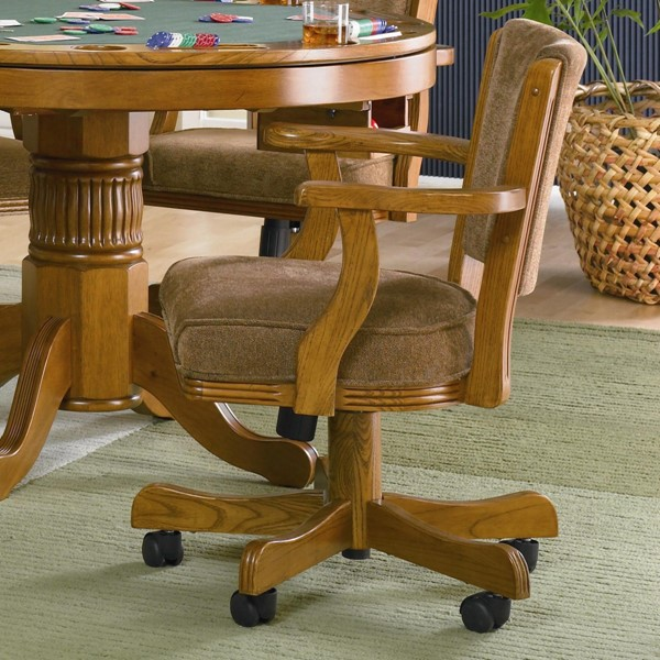 Casual Oak Wood Fabric Upholstered Arm Chair CST-100952
