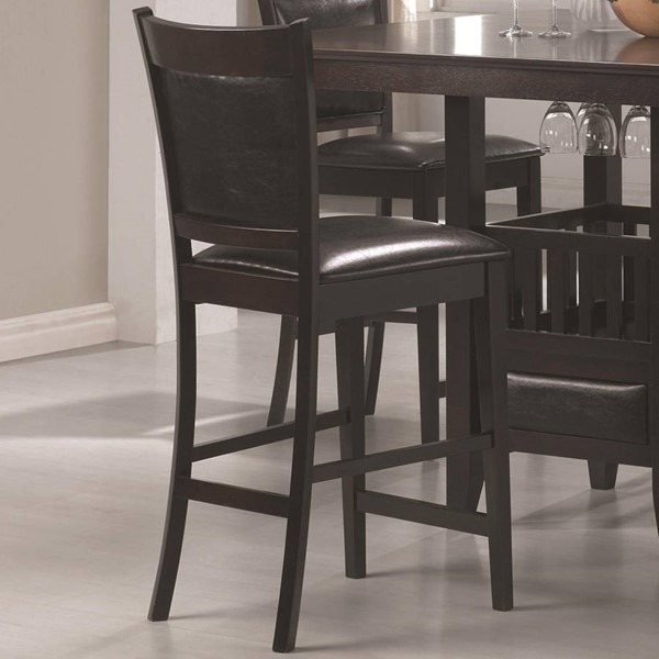 2 Jaden Casual Cappuccino Wood Leather Like Vinyl Bar Stools CST-100959
