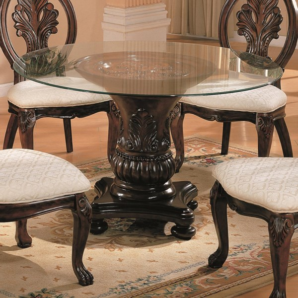 Tabitha Traditional Dark Cherry Wood Galss Round Dining Table CST-101030S