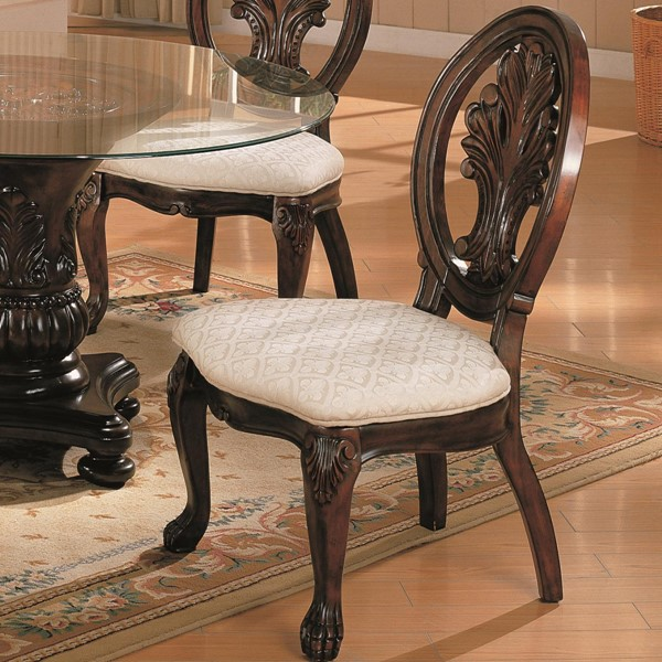 2 Tabitha Traditional Cappuccino Wood Fabric Side Chairs CST-101032