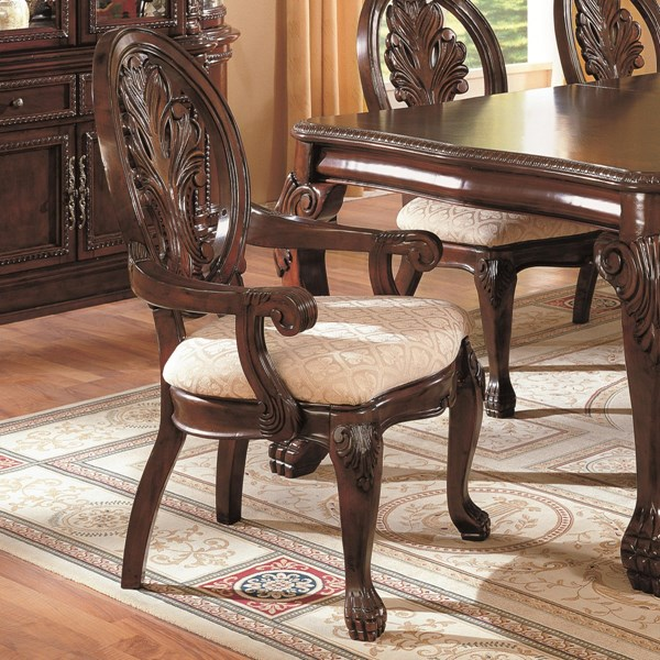 2 Tabitha Traditional Cappuccino Wood Fabirc Arm Chairs CST-101033