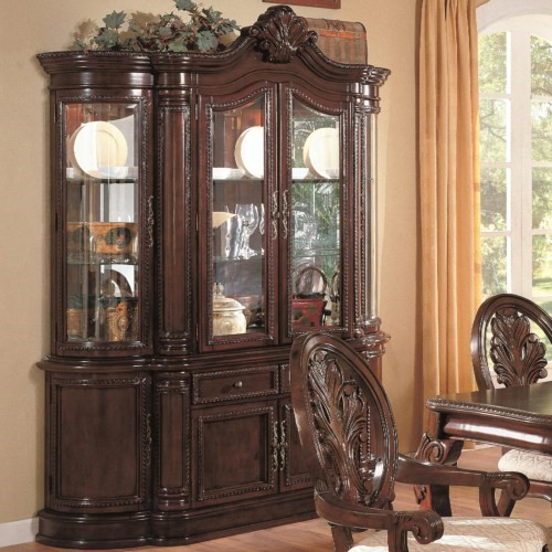 Tabitha Traditional Cappuccino Wood Glass Buffet And Hutch CST-101034BH