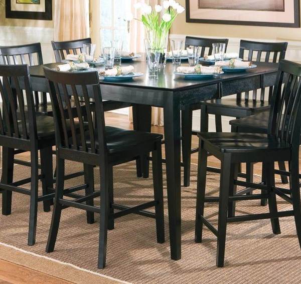 Casual Black Solid Wood Counter Height Table CST-101038BLK