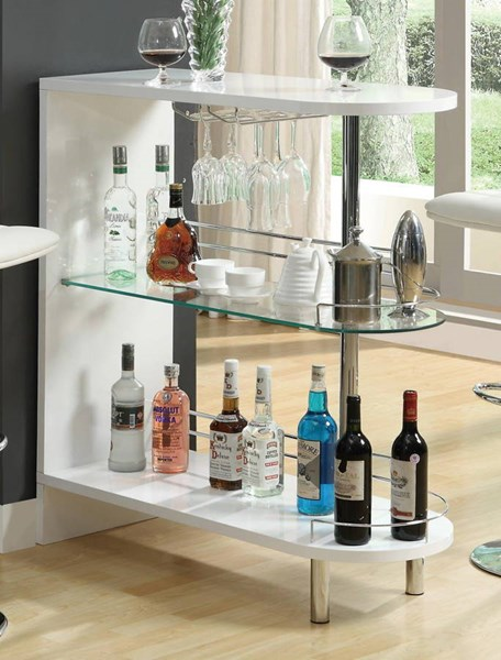 Contemporary White Glass Wood Shelves Bar Table CST-101064