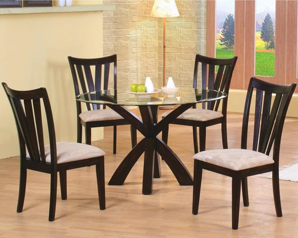 Contemporary Cappuccino Wood Glass Dining Set CST-G101071