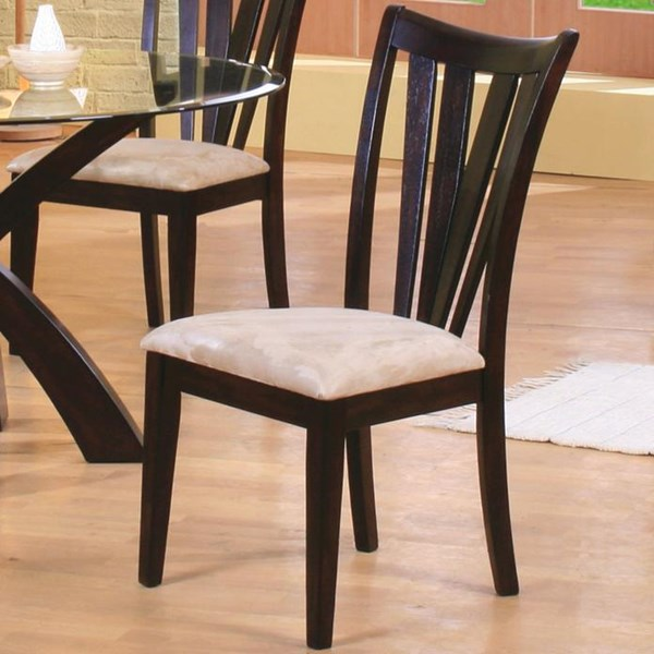 2 Contemporary Cappuccino Wood Slat Back Chairs CST-101072