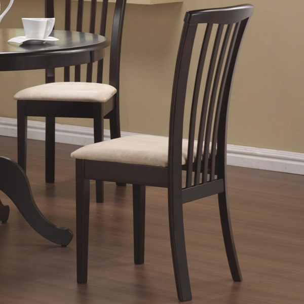 2 Casual Cappuccino Beige Wood Fabric Slat Back Side Chairs CST-101082