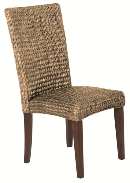 2 Westbrook Vintage Brown Wood Natural Woven Side Chairs CST-101093
