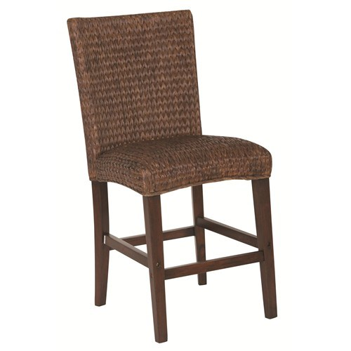 2 Westbrook Country Dark Brown Wood Woven Counter Height Stools CST-101096