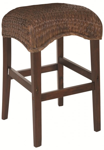 2 Westbrook Vintage Dark Brown Wood Woven 24 Inch Height Stools CST-101098