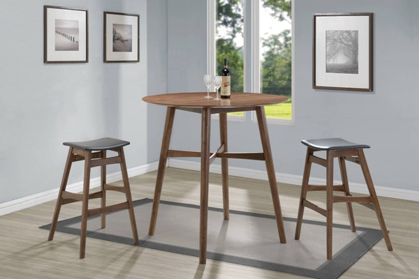 Walnut Grey Wood Leatherette 3pc Round Counter Height / Bar Set CST-10143-BAR-S1