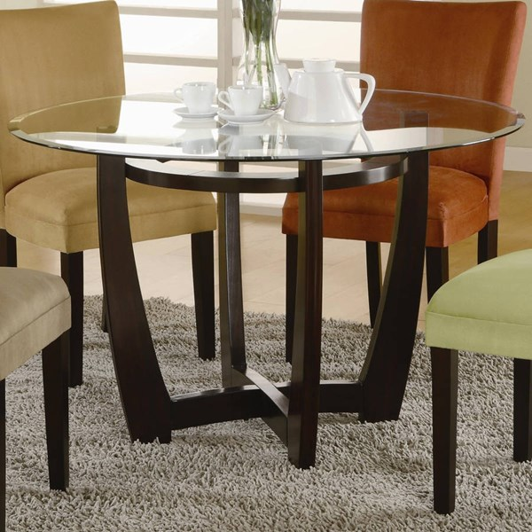 Transitional Cappuccino Wood Glass Table CST-101490