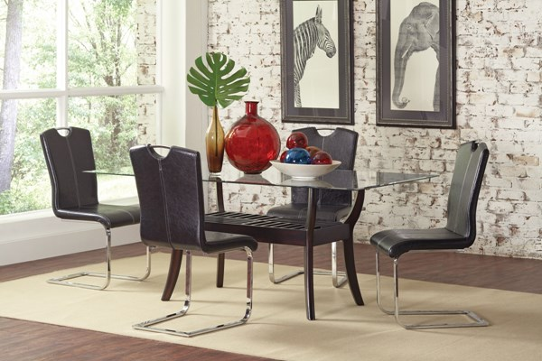 Bloomfield Cappuccino Wood Glass 5pc Dining Room Set CST-101491T-GRP