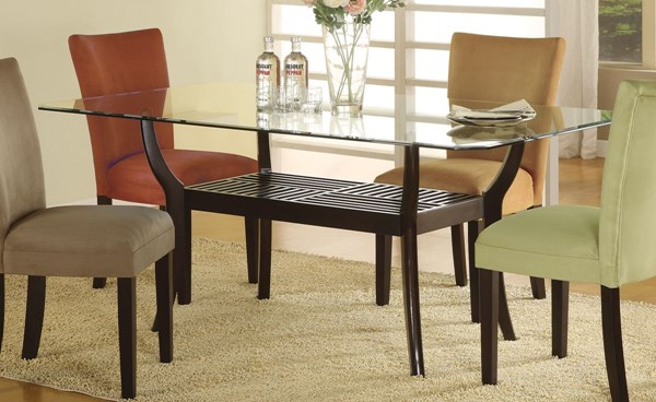 Bloomfield Transitional Cappuccino Wood Glass Table CST-101491