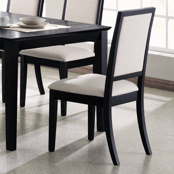 2 Lexton Transitional Black Cream Wood Side Chairs CST-101562