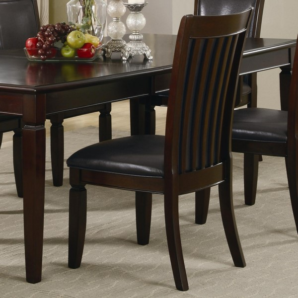 2 Ramona Transitional Nut Brown Wood Faux Leather Side Chairs CST-101632