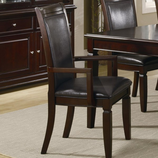 2 Ramona Transitional Nut Brown Wood Faux Leather Arm Chairs CST-101633