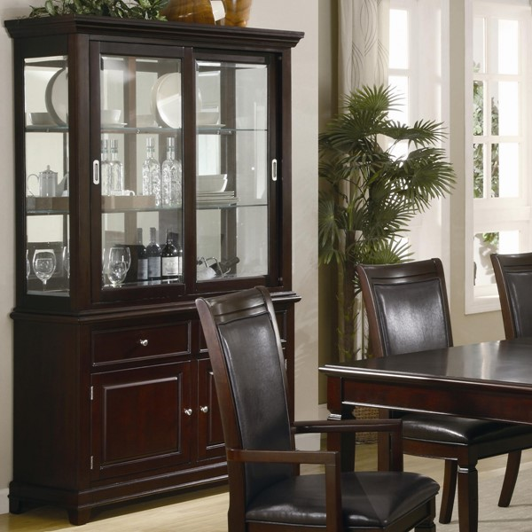 Ramona Transitional Nut Brown Wood Glass Buffet And Hutch CST-101634