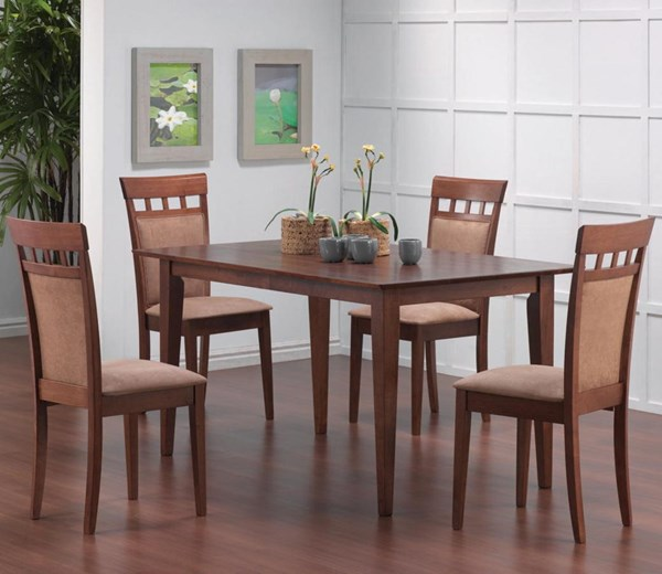 Casual Walnut Wood Rectangle 5pc Dining Room Set CST-101771SET-2
