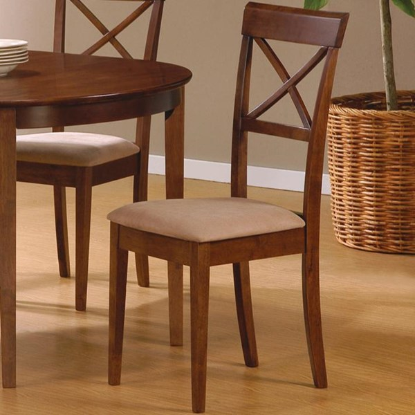 2 Casual Walnut Wood Armless Cross Back Side Chairs CST-101774