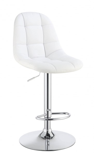 2 White Silver Metal Faux Leather Adjustable Foot Rest Bar Stools CST-101788