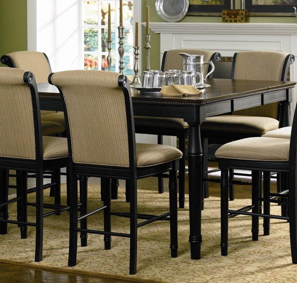 Dining Table With Three Extension Leaves And Six Matching: Coaster Furniture Black Wood Square Extension Leaf Bar