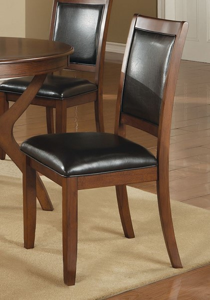 2 Nelms Traditional Walnut Black Wood Side Chairs CST-102172