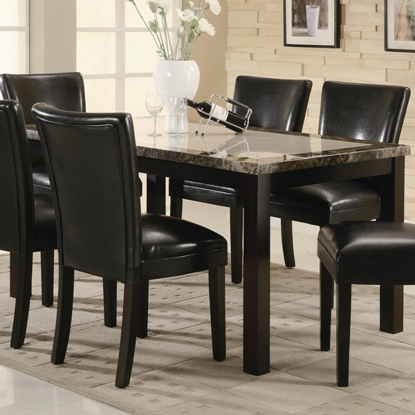 Carter Casual Cappuccino Wood Faux Marble Dining Table CST-102260