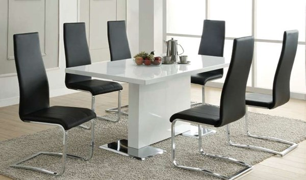 Nameth Contemporary White Wood Solid Back Rectangle Dining Room Set CST-102310-DR