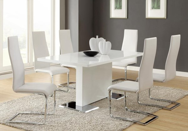 Nameth Contemporary White Black Wood Armless 5pc Dining Room Set CST-102310-S1