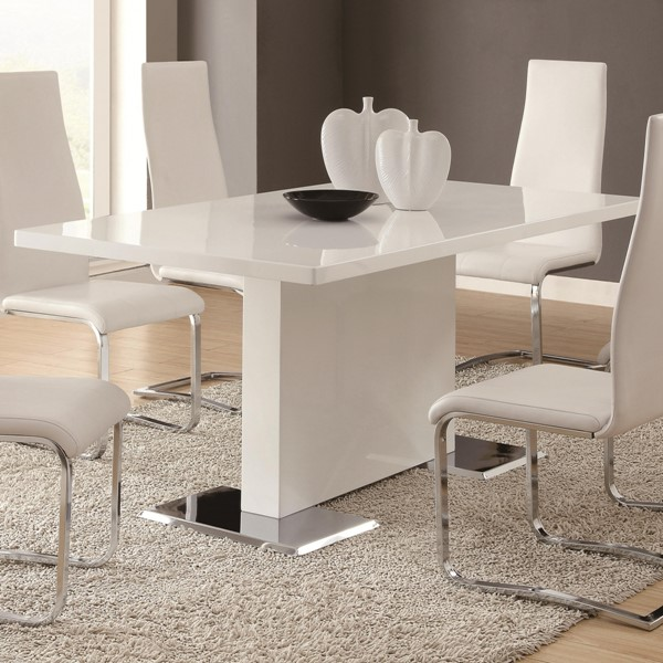 Coaster Furniture Nameth Glossy White Dining Table CST-102310
