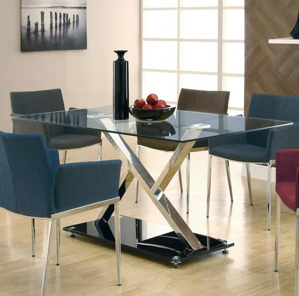 Nameth Contemporary Chrome Glass Dining Table CST-102320
