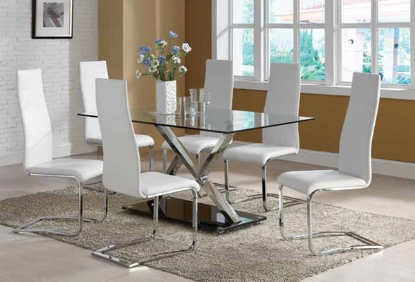 Nameth Contemporary Chrome Glass 5pc Dining Room Sets CST-102320-DR-S