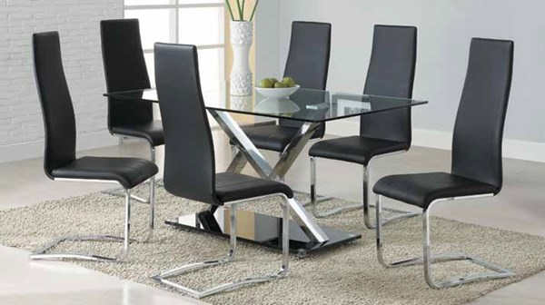Nameth Contemporary Chrome Glass 5pc Dining Room Set w/Black Chair CST-102320-DR-S2